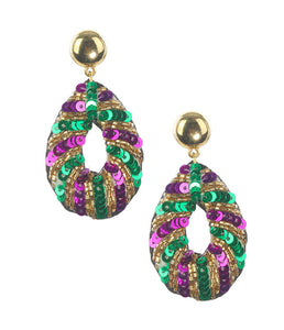 Mardi Gras Oval Sequin Earrings