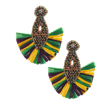 Mardi Gras Raffia Earrings
