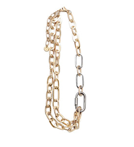 Mixed Metal Chain Link Necklace