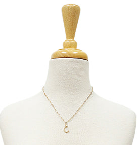 Bamboo Initial Necklace - C