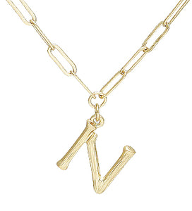 Bamboo Initial Necklace - N