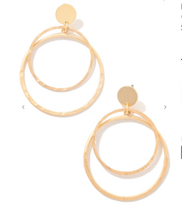 Double Circle Gold Earrings
