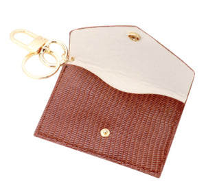 Snake Print Key Chain Wallet - Brown