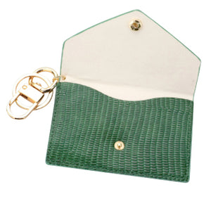 Snake Print Key Chain Wallet - Green