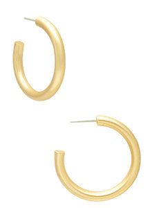 Gold Brushed Metal Hoop Earrings