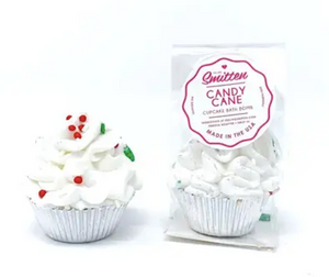 Mini Candy Cane Cupcake Bath Bomb