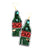 Champagne Bottle Earrings - Green and Red