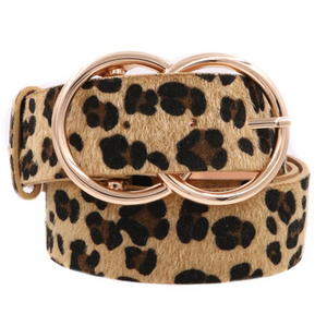 Leopard Gold Buckle Belt - Light Brown