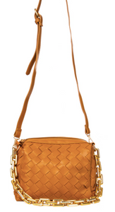 Woven Faux Leather Bag - Brown