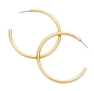 Brushed Gold Hoop Earrings