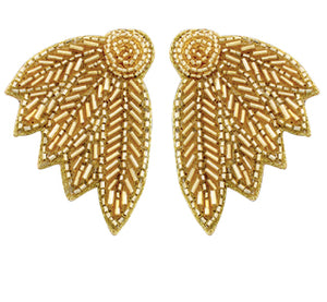 Seed Bead Wing Earrings - Gold