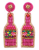 Champagne Bottle Earrings - Hot Pink
