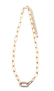 Gold Rhinestone Lock Paper Clip Necklace