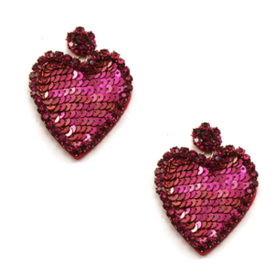 Sparkle Rhinestone Heart Earrings - Fushia