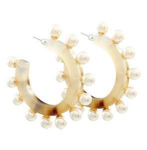 Acrylic Pearl Hoop Earrings - Light Tortoise