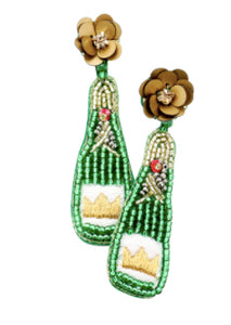 Champagne Bottle with Flower Earrings - Green