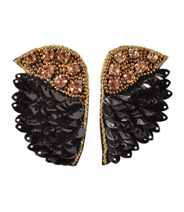 Statement Wing Earrings - Black and Gold
