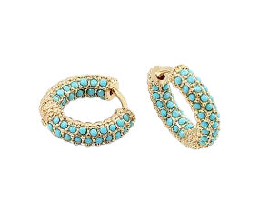 Stone and Gold Huggie Earrings - Turquoise