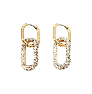 Double Gold and Rhinestone Huggie Earrings