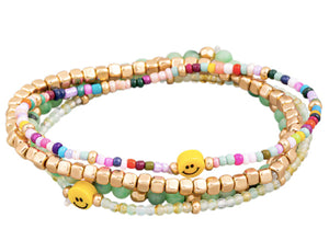 Smiley Stretch Bracelets - Green