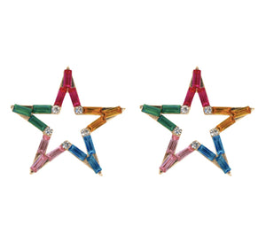 Rhinestone Star Stud Earrings - Multi