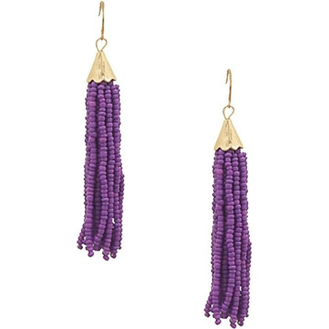 Seed Bead Earrings - Purple