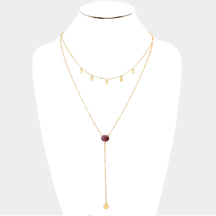 Skylar Dainty Stone Necklace - Brown
