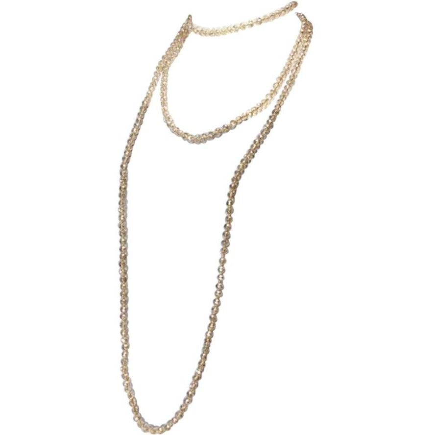 Crystal Long Strand Necklace - Champagne