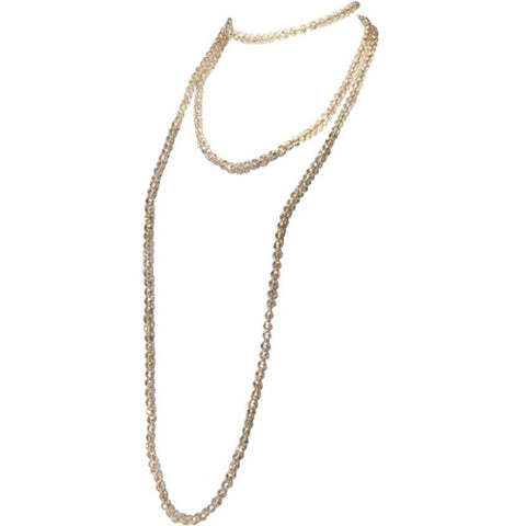 Crystal Long Strand Necklace - Champagne - Shop Golden Lily