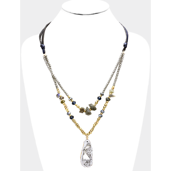 Layered Druzy and Stone Necklace - Navy