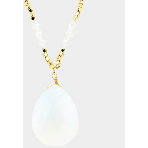 Mary Semi Precious Necklace - Opal - Shop Golden Lily