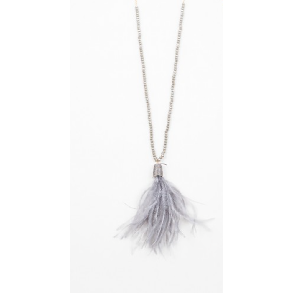 Crystal Feather Necklace - Grey - Shop Golden Lily