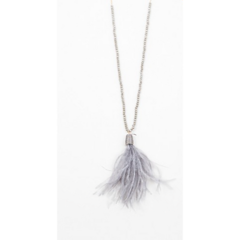 Crystal Feather Necklace - Grey