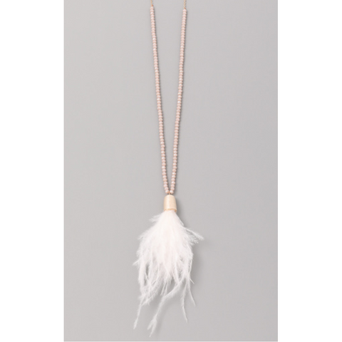 Crystal Feather Necklace - White