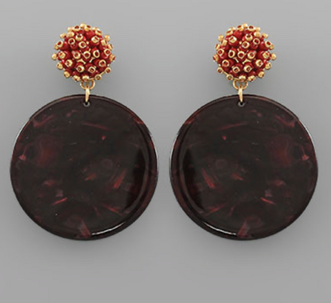 Mindy Earrings - Maroon - Shop Golden Lily