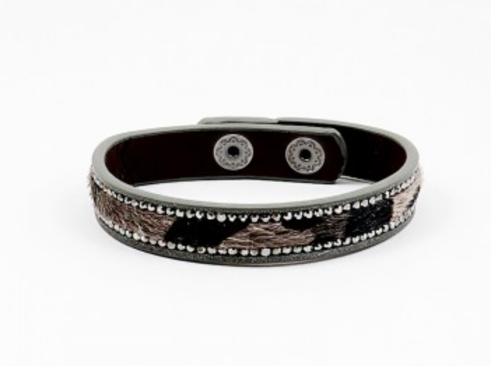 Rhinestone Animal Print Wrap Bracelet - Grey