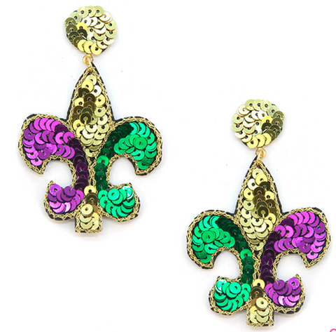 Mardi Gras Sequin Fleur De Lis Earrings