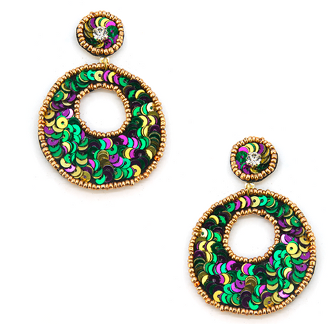 Mardi Gras Sequin Circle Earrings