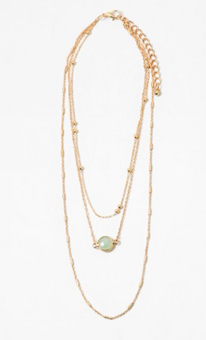 Layered Stone Necklace - Mint