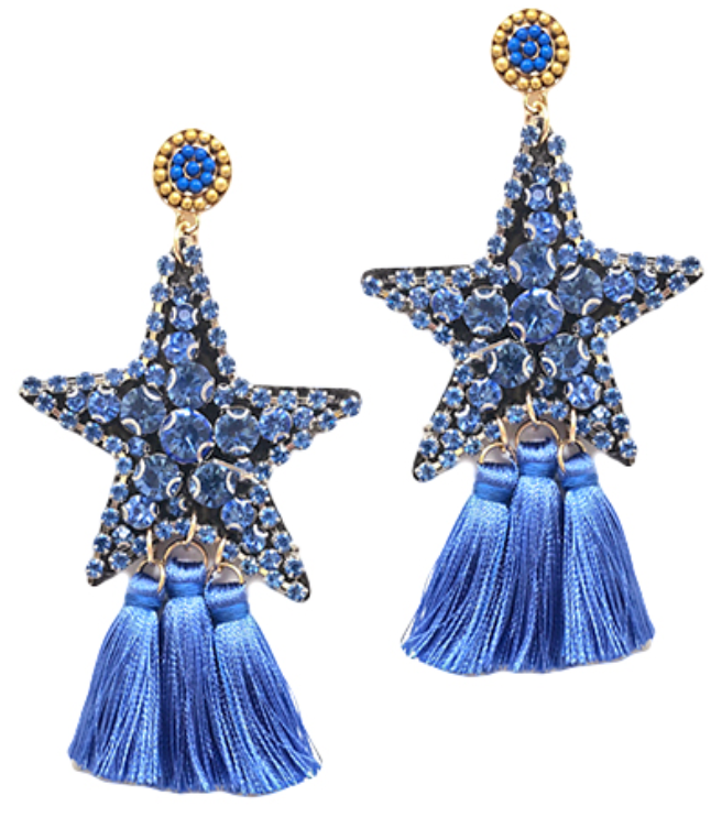 Rhinestone Star Tassel Earrings