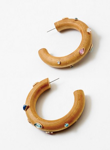 Wooden and Rhinestone Hoop Earrings