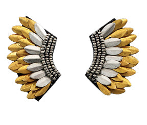 Small Wing Earrings - Gold and Light Silver