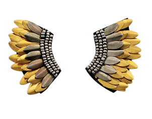 Small Wing Earrings - Gold and Dark Silver