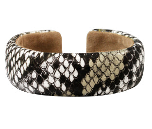 Snake Print Cuff Bracelet- Black and White
