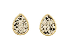 Oval Snake Print Stud Earrings