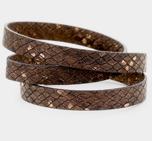 Snake Print Wrap Bracelet - Brown