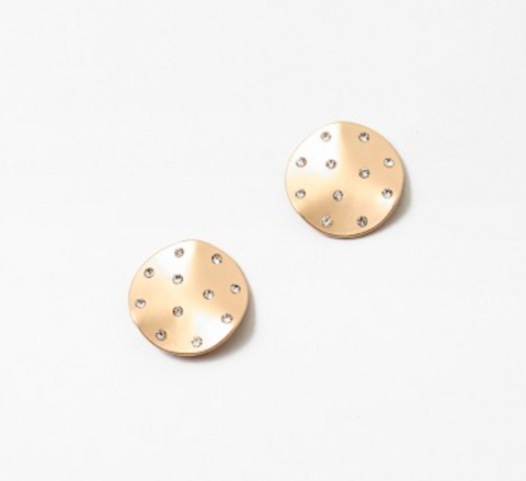 Matte Gold Disc Stud Earrings