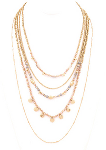 Layered Crystal and Bead Necklace - Champagne