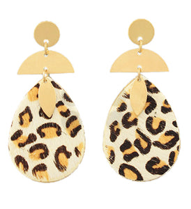 Leopard Drop Earrings - Light Brown