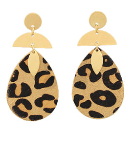 Leopard Drop Earrings - Brown
